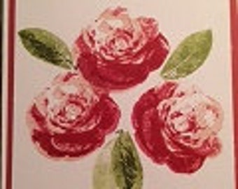 Red Flower Cards- with greetings (3)
