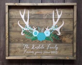 Rustic wood sign, framed wood sign, nursery art, nursery decor, home decor, antler sign