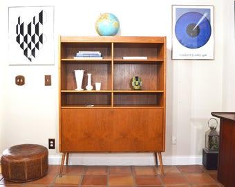 Mid Century Danish Hutch Bookcase Bar Drop Down Cabinet