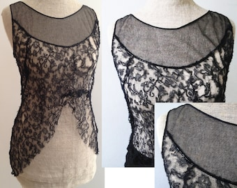 Vintage 1930s mesh and lace top with beading Steampunk Goth 1920s Flapper Gatsby
