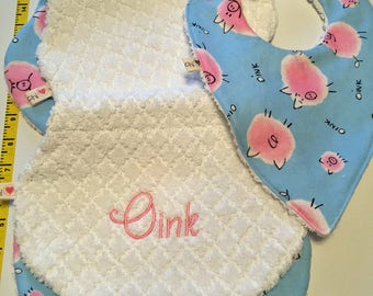 Handmade - set of 3 - 2 burp cloths and one bib