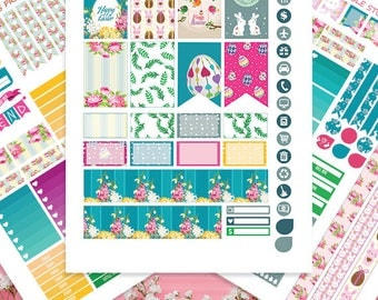 Easter Printable Planner Stickers, HAPPY PLANNER STICKERS Mambi ,April Floral Monthly-Weekly Sticker Kit Happy planner Kit, Instant download