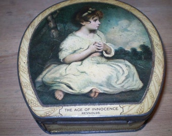 Antique English Edwardian Sweet,Candy Tin in Excellent condition.Reynolds Art,The Age of Innocence