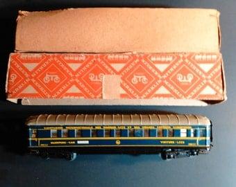 SALE! Vintage 1957 Marklin HO Scale 4011 346/3J CIWL Tin Toy Train Passenger Sleeping Car Rare Blue/Yellow Version 8 Germany Orig. Box C-5