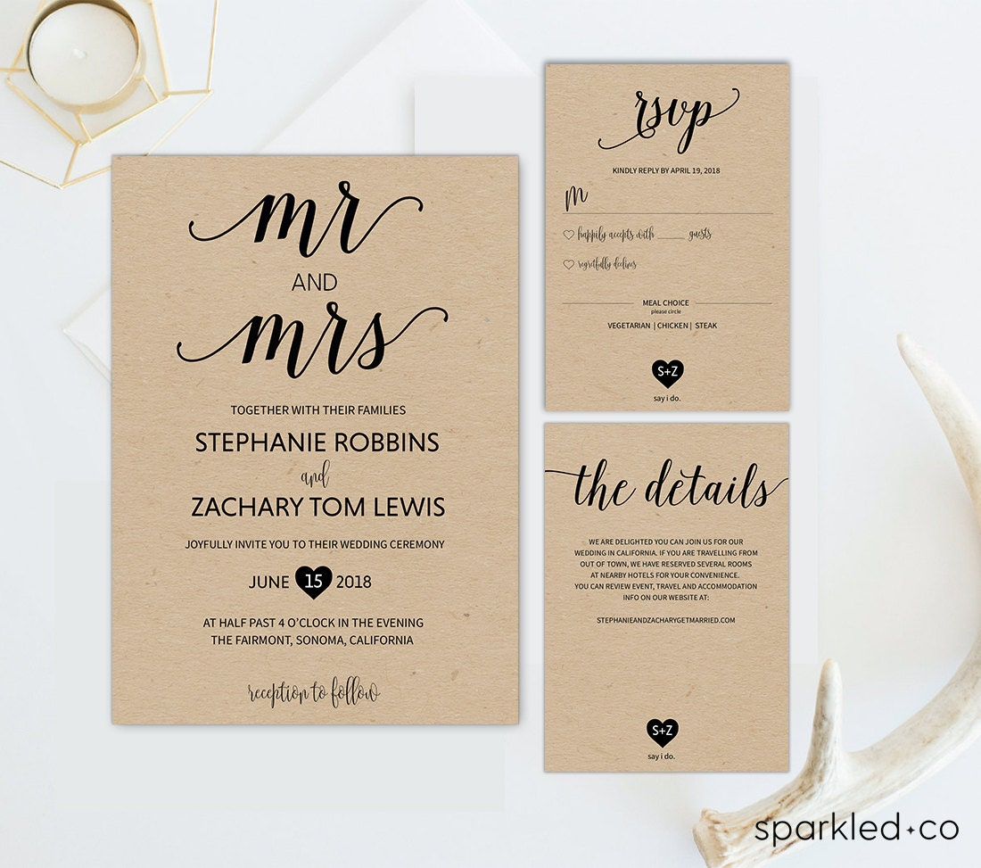 rustic wedding invitation template mrs and mrs wedding. Black Bedroom Furniture Sets. Home Design Ideas