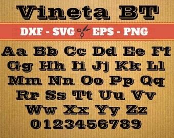 Vineta BT Script Monogram Svg Font; Svg, Dxf, Eps, Png; Digital Monogram, Calligraphy Script, Cursive Svg Font, Silhouette, Cricut, Cut File