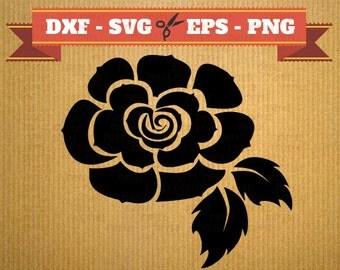 Fichier SVG, Dfx, Png, Eps, Svg rose silhouette de fleur, fleur rose svg coupe des fichiers, silhouette Studio, Cricut, camée, fleur DXF