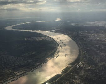 Aerial View of the Mississippi River, New Orleans, Louisiana, Digital Photography, Digital Download