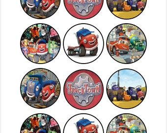 Edible Truck Town Themed Cupcake Cookie Toppers