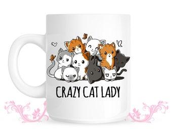 Crazy Cat Lady funny Mug - Cat love - Cat lovers - Cute cat mug