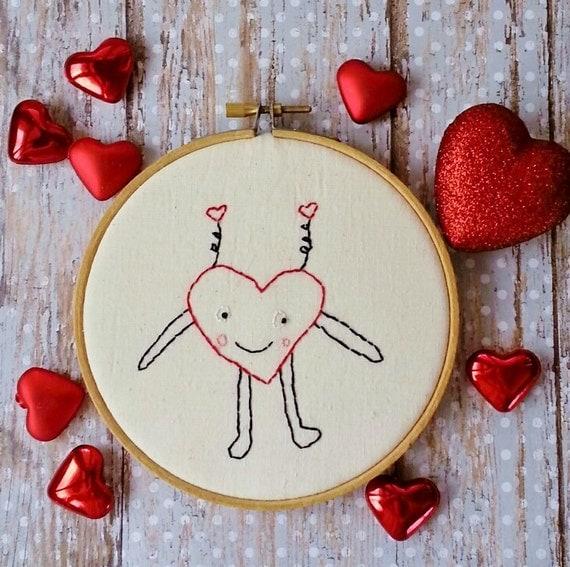 Funny valentine heart embroidery pattern pdf stitchery