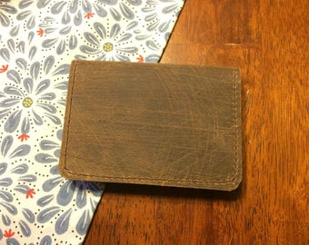 Minimalist Leather Wallet -  Amish Handmade - Brown - Bifold - Made in USA