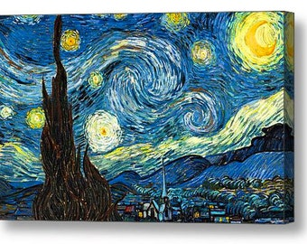 Vincent Van Gogh Starry Night Canvas Box Art A4, A3, A2, A1 ++