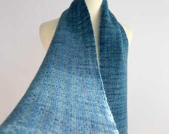 hand woven scarf, blue, winter scarf, wool scarf, mother's day gift, hand spun wool scarf, gift for him, gift for her, handwoven by SpunWool