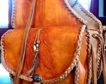 Saddlebag leather backpack saddle, horse riding, hiking bags, fonts fonts