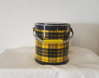 Retro 1950s Plaid Metal Ice Bucket, Vintage ice bucket, plaid ice bucket, collectible ice bucket, metal ice bucket, 1960s ice bucket