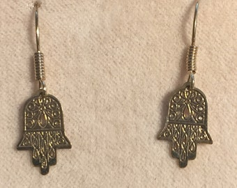 14 Karat Hamsa yellow gold Earrings with French Wires with gold wire coils