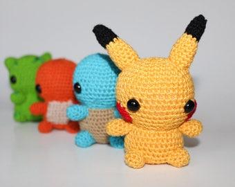Starter Pokemon Amigurumi Dolls - Pokemon Plush - Amigurumi Pokemon - Pikachu Amigurumi