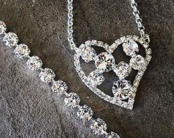 BLING HEART PENDANT necklace in sterling silver with 11mm and 8mm crystal chantons - large statement necklace