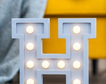 "H light letter, nightlight, wooden light letter ""H"""