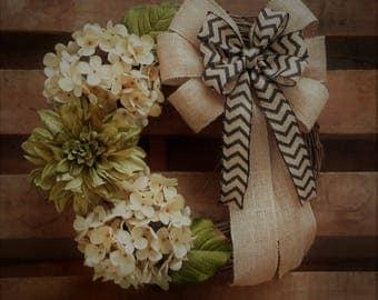 Cream and Green Hydrangea/Dahlia Wreath, Housewarming Wreath, Everyday Wreath, Door Wreath, Spring Wreath, Summer Wreath