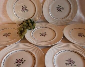 "Set of 7 Johnson Brothers 10"" Dinner Plates - Plum Blossom Pattern, Purple Flowers"