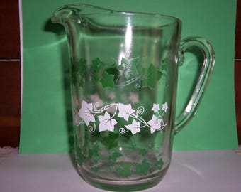 Vintage 1950's Glass Pitcher, Juice Pitcher, Green and White Ivy