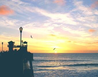 Oceanside Beach Photography California Art Pier Seascape Photo Zen Wall Art Blue Ocean Home Decor Sunset Coastal Nautical Art Birds Surf