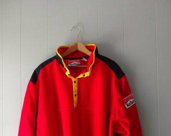 Vintage 90's Marlboro fleece pullover // red, 1990s fleece // Marlboro adventure team size XL