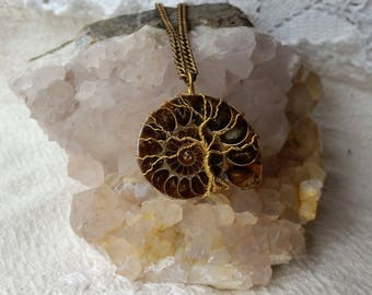 Tree of Life Pendant, Ancient Ammonite Gemstone Necklace, World Tree of Life Pendant, Tree of Knowledge, Wire Wrapped Ammonite Fossil