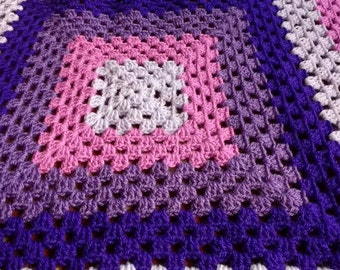 4 shades of purple granny square crochet baby blanket