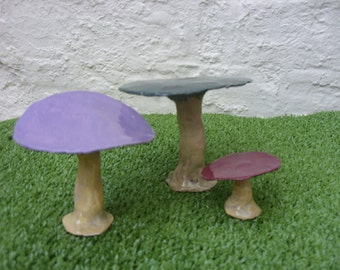 Handcrafted Stoneware Ceramic Fairy Toadstools...Set of 3