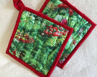 Quilted Handmade Potholders, Bright Green and Red Fabric Potholders, Hostess Gift, Housewarming Gift