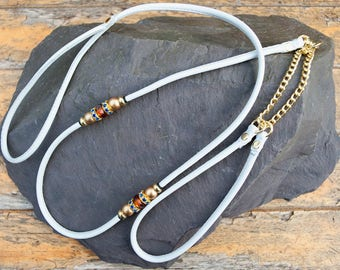 Beaded Dog Show Lead - All in One - Soft Nappa Leather
