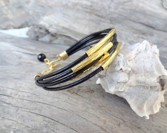 EXPRESS SHIPPING,Multi Strand Black Leather Bracelet, Gold Bracelet, Leather Jewelry, Charm Bracelet,Elegance,Feminine Bracelet,Mother's Day