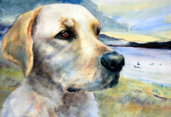 custom pet portrait - custom dog painting - dog in watercolor - watercolor portrait by Bonnie White - Bonnie White pet portrait