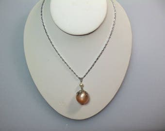 Vintage Light Weight Silver Tone Aluminum Peach Moon Glow Bead and Faux Pearl Pendant Necklace on 23 Inch Chain Marked Germany