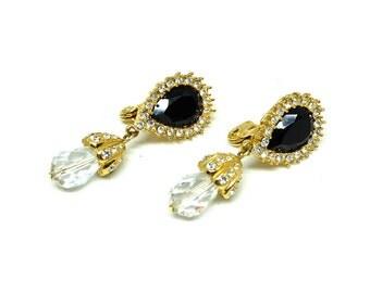 Vintage 1980s Monet Earrings   Black Chandelier Earrings   Clip on Earrings   Diamante Earrings   Statement Earrings   Large Clip ons