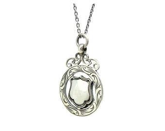 Vintage Silver Necklace | Art Deco Pendant | Medallion Pendant | Engraveable Pendant | 1926 Medallion | Shield Necklace | Silver Pendant