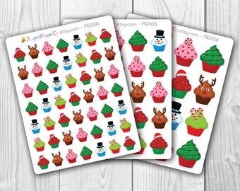 Christmas Cupcake Stickers