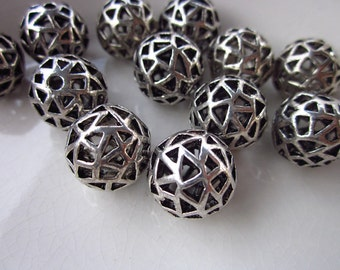 12 Antiqued Silver-Plated Metal Beads, Triangular Piercings, Hollow Center, 14mm Round
