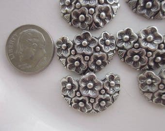 11 Antiqued Silver-Plated Brass Stampings, Floral Design, 21mm x 15mm Curved Half-Circle