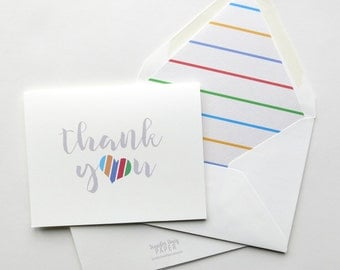 Rodan and Fields Cards - Thank You Cards - Referral Cards - Large Striped Heart Thank You