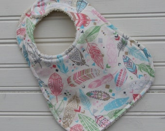 Bib - Baby Bib - Soft as a Feather Flannel and Terry Bib - Bib - Shower Gift for Baby Girl
