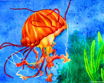 Jelly fish limited edition print from original painting