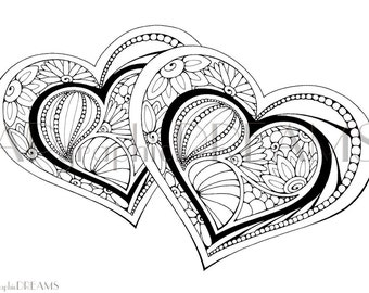 Stylized Hearts coloring page for adults. Valentines coloring page. Printable stylized heart. Gift for lovers. Adult coloring page.