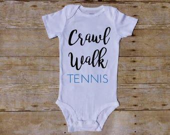 Crawl Walk Tennis, Tennis Baby, Tennis Mom, Tennis Dad, Future Tennis Player, Baby Boy Tennis, Tennis Parent, Tennis Baby Shirt, Baby Gift