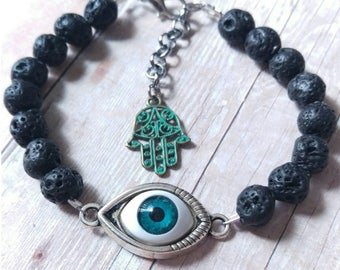 Blue Evil Eye. LAVA Bracelet. Silver Plated. Talisman. Hamsa.  Handmade.