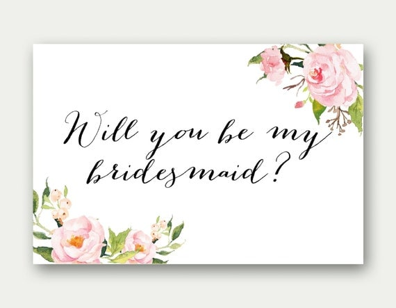 Will you be my bridesmaid bridesmaid card printable will you be my bridesmaid bridesmaid proposal printable bridal party card floral pronofoot35fo Image collections