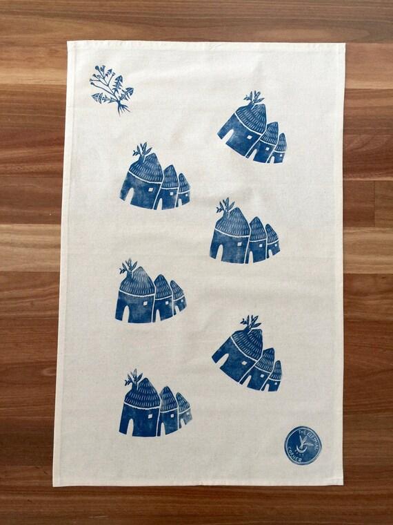 Hamlet Houses Handprinted Tea Towel